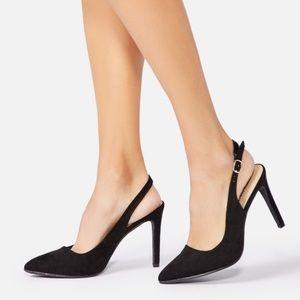 Estella Pointed Toe Black Slingback Pump